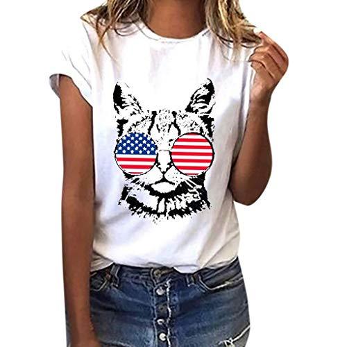 9d7cba7f VEMOW Camisetas Mujeres Tallas Grandes Bandera Americana Gato Imprimir  Camisa de Manga Corta Blusa(Blanco