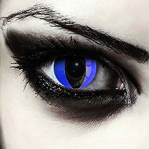 Blaue Katzenaugen Kontaktlinsen für Karneval oder Halloween Kostüm Farblinsen in blau Design: Blue Cateye + gratis Kontaktlinsenbehälter (innerhalb Dt.)