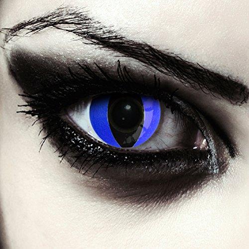 Blaue Katzenaugen Kontaktlinsen für Karneval oder Halloween Kostüm Farblinsen in blau Design: Blue Cateye + gratis Kontaktlinsenbehälter (innerhalb ()