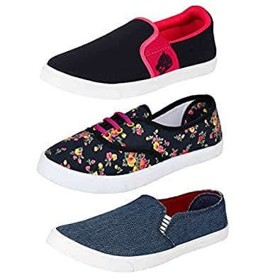 Earton Women Combo Pack of 3 (Casual Shoes with Loafer & Maccosins &Sneaker Shoe (4, Multicolor)