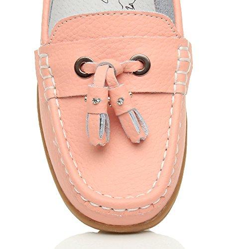 Femmes bas talon compensé pompon confort chaussures de bateau mocassins pointure Rose