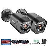 ANNKE Überwachungskamera 2 x720P Schwarze Bullet Kameras HDMI Nachtsicht zwischen 20-30 Meter Wetterfest