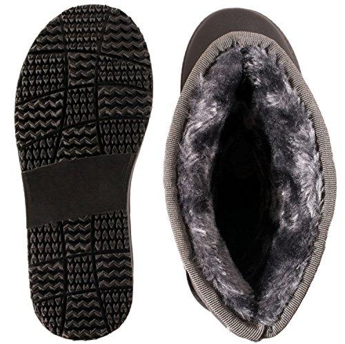 Elara Damen Boots | Bequeme Winter Stiefeletten | Warm Gefüttert Profilsohle Wildlederoptik Grau Flair