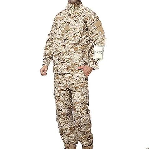 QMFIVE Tactical Desert Digital Hommes BDU Combat Uniforme Veste T-shirt et Pantalon Suit Woodland Camo pour Guerre Guerre Armée Militaire Paintball Airsoft Hunting Shooting(L)