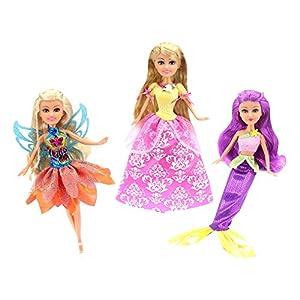 ColorBaby -  Set 3 muñecas 27 cm Hada Princesa y Sirena Sparkle Girlz(44501)