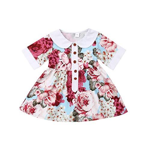 Julhold Kleinkind Baby Kinder Mädchen Niedlich Elegant Blumendruck Patchwork Beiläufige Dünne Kleider Kleidung 0-4 Jahre - Heritage Produkte Rose