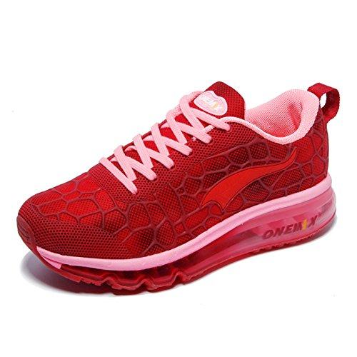 2100640bc7dbaa Onemix Damen Laufschuhe Air Sneaker mit Luftkissen Turnschuhe  Straßenlaufschuhe Sportschuhe Rot ...