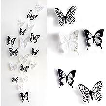 HaimoBurg 36 Pezzi 3D Adesivi Murali Adesivi da Parete per Casa, Camera Decorazione Farfalle
