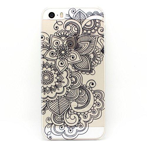 JIAXIUFEN Custodia Cover Case Ultra Slim Hard Plastica Custodia Protettiva Case Cover per Apple iPhone 5 5S - Henna Series Black Stapelia Floral Lace Flower