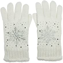 b53e1bae102d67 CASPAR GLV009 warm gefütterte Damen Strick Handschuhe mit gesticktem  Eiskristall und dezentem Strass