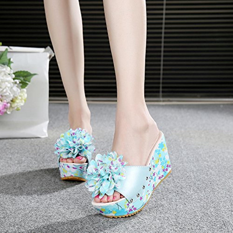 FLYRCX Bohême d'été pour femme Cool Pantoufles douces fleurs épais antidérapante pente inférieur et antidérapante épais Chaussures...B07D8TDQWSParent caf311
