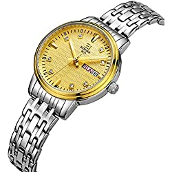 BINGER Women's Day and Date Gold Dial Quartz Watch with Silver Stainless Steel Bracelet and Luminous Pointer