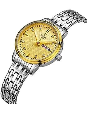 Binger Damen Edelstahl Tag und Datum Quarzuhr mit Silber Armband phosphoreszierende Zeiger gold Zifferblatt