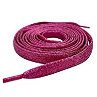 "120cm / 47"" Pink Flat Metallic Sparkle Glitter Smart Laces® Shoe laces, Ideal Shoelaces for Kids Girls Clips Children & Womens Converse, Nike, Adidas, Vans Trainers"