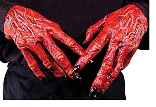 Kostüme Uk Halloween Teufel (Damen Herren Halloween Klaue Hörner Sfx Kit Handschuhe Lack Maske Kap Makeup Latex Blut Perücke Zubehör (Teufel Halloween)