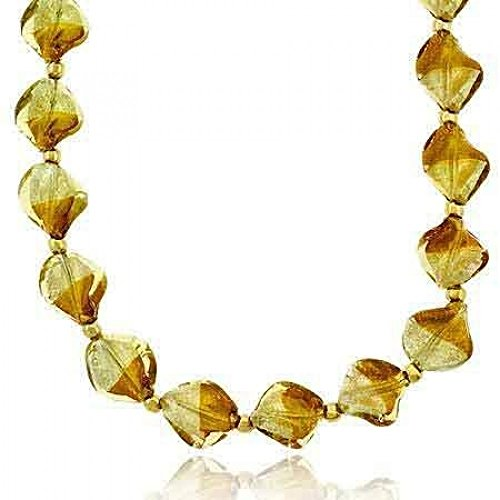 Brown & Champagne Two Tone Twisted Glass Foil Bead Vermeil (24k Gold over Sterling Silver) Round Beaded Silver & Gold Glitter Necklace
