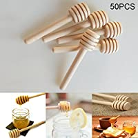 PerGrate perg Transferencia 50unidades Mini Madera Miel Stick Cuchara Stick Dipper–miel Remover Bar Party Supplies, 10#