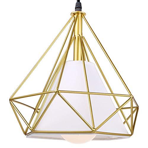 stoex Hängeleuchte Industrielle 25 cm Kronleuchter Lampenschirm aus Eisen Form Diamant Deckenlampe Gold