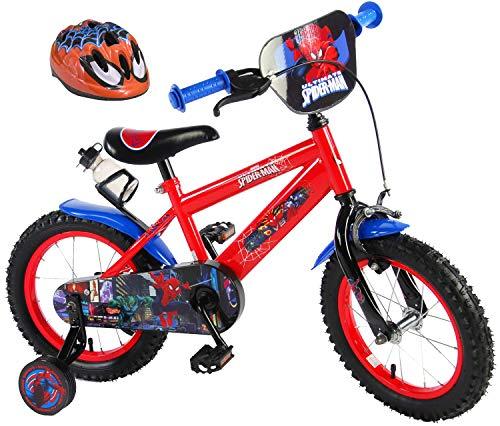 Kinderfahrrad Sipder-Man 14 Zoll mit Rücktrittbremse und Trinkflasche + Kinder Fahrradhelm Spider-Man 51-55 cm im Sparset