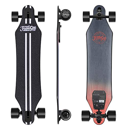 Teamgee Skateboard Elettrico Longboard con Telecomando,Ultra Sottile,Batteria Integrata, Doppio Motore,Velocità Massima 35km/h,Autonomia Velocità 15km-18km/h, per Adult Professional Teenager