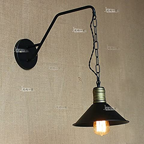 Modeen American Industrial Available Lift Up and Down Hanging Chain European Craft Wall Lamp Tradition Speaker Black Restaurant Dining Room Garage Kitchen Wall Light