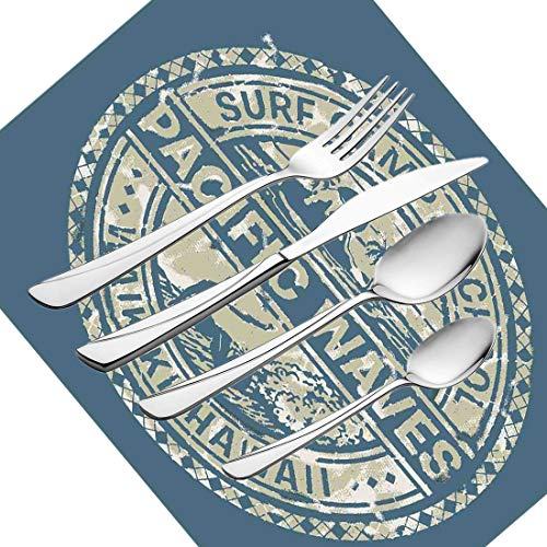 30-teiliges Besteckset, modernes Geschirr Besteckset aus Edelstahl für 6 Personen, einschließlich Messer, Gabeln, Löffel, Teelöffel und Tischset, Pacific Waves Surfcamp-Schule Hawaii Logo M -