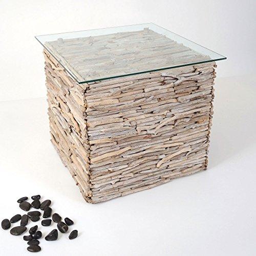 Holländer Tisch MARCO, Treibholz natur - weiß gekälkt - Glasplatte ESG klar 6 mm