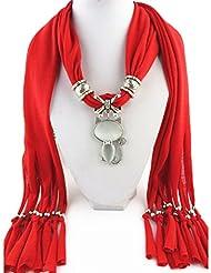 QHGstore Mujeres Vintage Charm Cristales Gato Colgante Bufanda Poliéster Bufanda Sólida Pañuelo rojo brillante