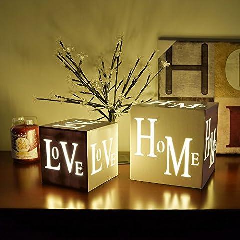 Sentik® Shabby Chic 3 LED Warm White Light Up HOME or LOVE Light Box Cube Christmas Xmas Festive Decoration (Love