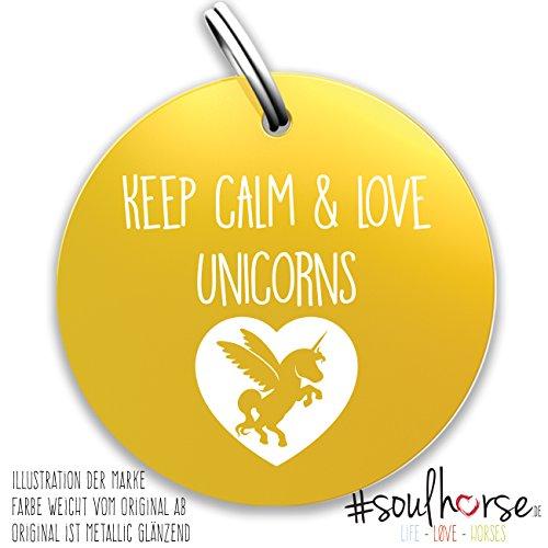 Pferde Glücksmarke #Keep Calm & Love Unicorns - gold aus unserer Einhorn Kollektion - Unicorn Gücksbringer - Soulhorse Anhänger Halfter, Trense, Zaumzeug, Sattel, Vorderzeug