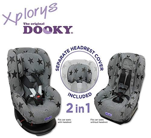 Original DOOKY 2in1 Sitzbezug ** UNIVERSAL Schonbezug 3 und 5 Punkt Gurt System ** Maxi Cosi TOBI + Sitze der Gr. 1 wie z.B. Maxi-Cosi Priori / SPS / XP, Römer King / TS / Duo etc.** GREY STARS **