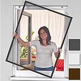 easy life Insektenschutz Fenster greenLINE 120 x 140 cm in Anthrazit Fliegengitter mit ALU Rahmen Insektenfenster ohne Bohren individuell kürzbares Fliegennetz