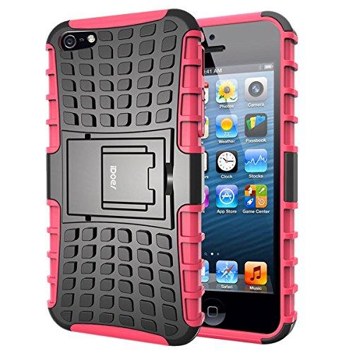 iDoer Schutzhülle für iPhone 5S Hülle silikon TPU Schutz Handy Stoßfest Hüllen Etui Hybrid Handyhülle Das Bumper Case für Apple iPhone 5 5S SE mit Ständer - rot