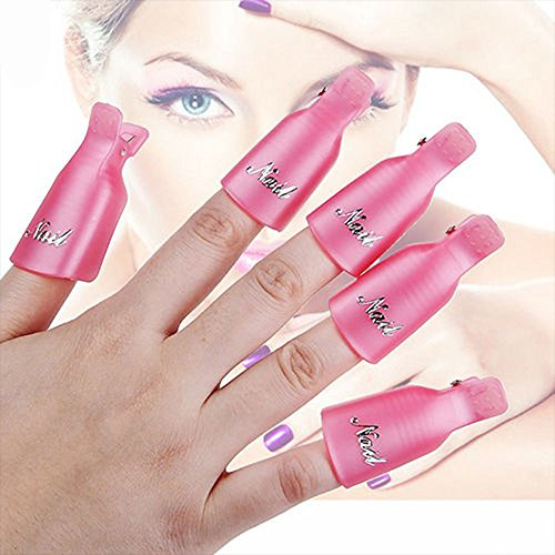 Contever® 1 set di 10 Pezzi di Arte del Chiodo del Gel UV Polish Remover Soak Off Acrilico Clip Cap Wrap del Chiodo - Rosa