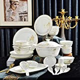 Set da 56 pezzi, set di stoviglie in porcellana fine bone china, bento in porcellana, piatto per cena, piatti a buffet per servire, linea oro