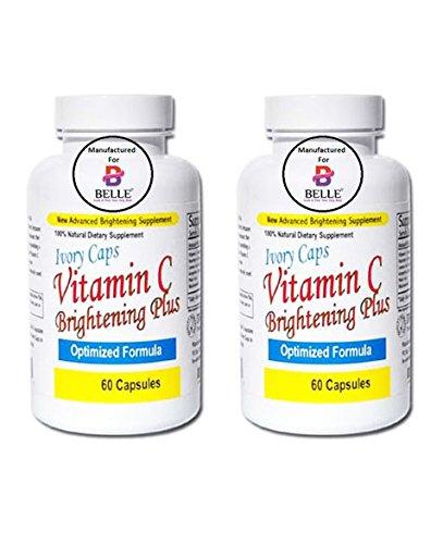 Therapie 60 Kapseln (Ivory Caps von Belle Vitamin C Aufhellung der Haut Plus Haut Bleaching-Aufhellung Pillen 100 % natürliche keine Nebenwirkungen für Belle hergestellt (2 Bottle))