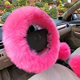 XuanMax Universal Winter Lang Plusch Lenkradbezug Set mit Feststellbremse Shift Knob Bezuge Atmungsaktiv Fahrzeug Weich Warm Lenkradhulle Anti-Rutsch Pelz- Flaumig Lenkradschoner Auto Lenkrad Abdeckung Lenkradabdeckung Furry Fluffy Long Plush Steering Wheel Cover 38cm - Pink