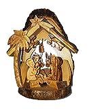 CleanPrince Krippe aus Olivenholz ca. 15 cm Höhe, hergestellt und handgefertigt in Bethlehem Israel Holzkrippe Weihnachtskrippe aus Holz Astscheiben Jesuskind heilige Familie Ochs Esel Engel Krippenfiguren Hirte Stern Stall, liebevoll arrangiert in mühevoller Handarbeit, crib, olive wood, braun