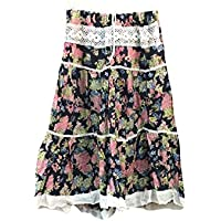 Mogul Interior Womens Retro Skirt Black Floral Printed Flare Boho Gypsy Midi Skirts