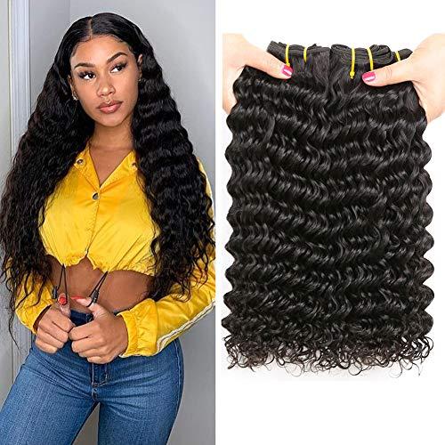 LANANEL 8A Virgin Hair Bundles Human Hair Curly Weave 100% Echthaar Tressen Brasilianische Menschliches Haare 8 10 12 Deep Curly Human Hair Bundles Brazilian Deep Wave Hair Bundles (Verlängerung Lockig Haar Menschliches)