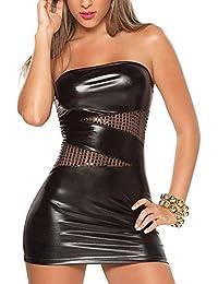 Ostenx Sexy Maxikleid Abendkleid Partykleid Elegant Pailletten Auffällig PU Leder Schwarz&Silber