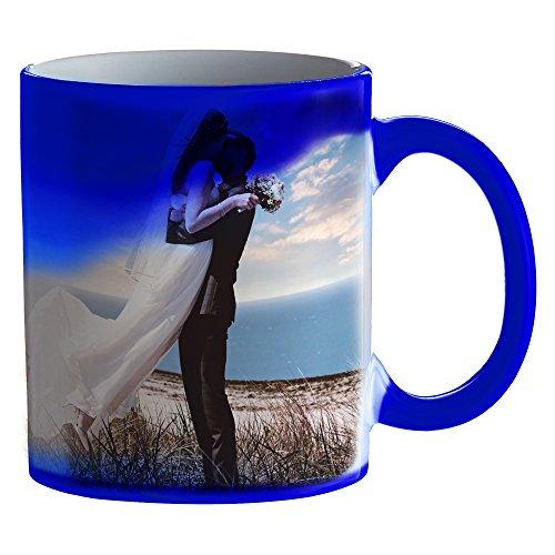 Zaubertasse mit Fotodruck - Blaue Magic Foto Tasse mit Farbwechseleffekt - persönliche Geschenkidee...