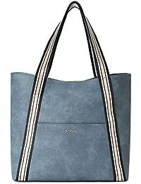 Kadell Women Leather Handbags Purse Tote Bag Fashion Shoulder Bags For Ladies Blue