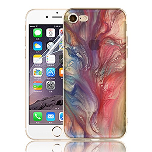 Ultra Sottile Custodia per iPhone 7 Plus iPhone 7 Plus, Cover per iPhone 7 Plus, Sunroyal Creativa Wave Cover Morbido Flessibile TPU Silicone Gel Protettivo Skin Caso Custodia Protettiva Shell Case Co Model 01