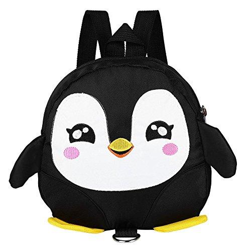 Zaino di Sicurezza per Bambini, Kids Toddlers Cartone Animato di Animali per Bambini Penguin Anti-Perso Schoolbag con guinzaglio di Sicurezza per Bambini 1-3 Anni Ragazzini(Nero)