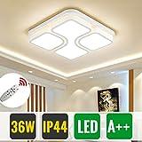 HG 36W Dimmbar mit Fernbedienung Schlafzimmer Leuchte Weiß Modern LED Deckenleuchte IP44 Eckig Wohnzimmer Lampe Esszimmerlampe Küchenleuchte Flurlampe [Energieklasse A++]