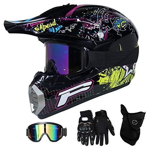 QYTK® Motorradhelm Motocross Helm Kinder Rockmusik, MT-52 Full Face Off-Road Motorrad Cross Helme mit Visier Brille Maske Handschuhe, Motorbike ATV MTB Freien Sport Motorcycle Helmet Set,L(56~57CM) (Freie Rockmusik)