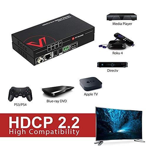 AV Access HDMI 2.0 Extender  HDBaseT Extender, 4K60Hz YUV4:4:4 18Gbps Over Single Cat5e/6a/7, HDCP2.2, HDR10(8bit), Dolby Atmos & DTS:X, 230ft 1080P, 131ft 4K,Bi-Directional PoE+IR+RS232+CEC
