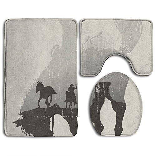 Teppich Western Thema Ein Cowboy Jagen Wild Horse in Wüste auf Einem Rodeo Cowboy Staub und Schwarz 3-Teiliges Badematten-Set Contour Teppich und Deckel ()