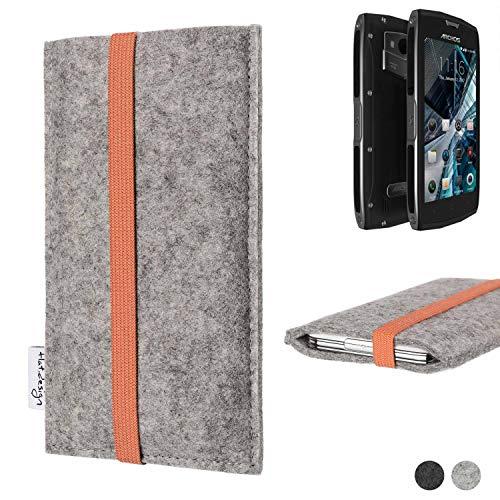 flat.design Handy Hülle Coimbra für Archos Sense 50X - Schutz Case Tasche Filz Made in Germany hellgrau orange